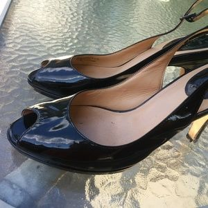 Cole Haan peep toe patent leather pumps 8.5
